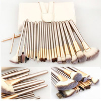 Pro Cosmetic Champagne Makeup Brushes Set+Leather Case &Makeup Toothbrushes