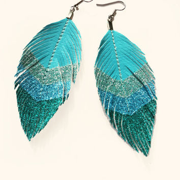 Surf Chevron - Blue Glitter Faux Leather Feather Earrings