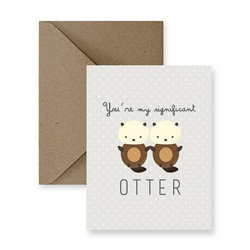 You Are My Significant Otter   Funny Love Card, Cute Love Card, Card for Him, Card for Boyfriend, Card for Husband, Funny Romance Card