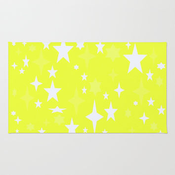 Lemon Yellow & White Retro Atomic Stars Area & Throw Rug by 2sweet4words Designs | Society6