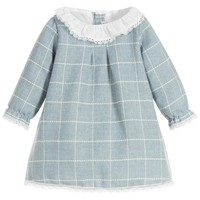 Baby Girls Blue Knitted Dress with Ruffle Collar