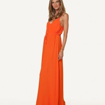 SOLID ORANGE MARY LONG DRESS | V i X Paula Hermanny