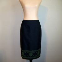 Pencil Skirt Size 4 Navy Blue Midi Skirt Small Blue & Green Skirt Straight Skirt Office Clothing FREE SHIPPING B. MOSS Womens Clothing