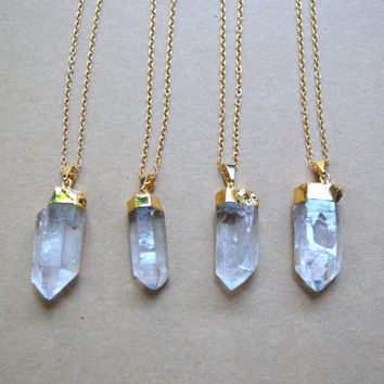 Quartz crystal point gold necklace / long necklace