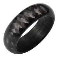 Willis Judd Mens New Solid Carbon Fiber Ring In Black Velvet Ring Box