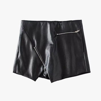 Faux Leather Skirt Shorts