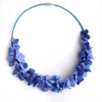 Hydrangea jewelry-Hydrangea necklace-Hydrangea blue-Flowers jewelry-Blossom necklace-Wedding flowers-Flower necklace jewelry-Blue necklace