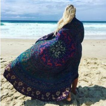 Multicolor Retro Pattern Summer Holiday Camping Travel Beach Bath Towels Shawl