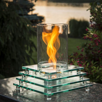 Stacked Glass Table Top Fire Pit