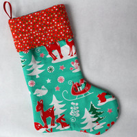 Reindeer and Sleigh Christmas Stocking, Turquoise and Red, Retro, Woodland Stocking