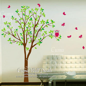 Vinyl wall decals green  tree pink owl butterfly Nature Tree Wall mural Nursery wall decal children- tree owl butterfly Z142 Cuma