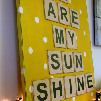 You Are My Sunshine Scrabble Tile Sign, Wall Art, Home Decor, Signage, Nursery Sign, Baby Sign, Room Decor