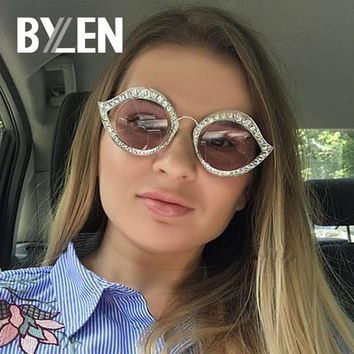 BYLEN Cat Eye Sunglasses Women Luxury Rhinestone Brand Designer Retro Oval Mirror Female Sun Glasses oculos de sol UV400