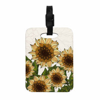 "Art Love Passion ""Sunflower Field"" Beige Yellow Decorative Luggage Tag"