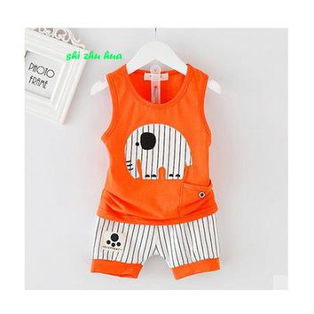 Boy Costume Set Baby Summer Vest + Pants Cartoon Embroidery Fashion Sports Set 1-3 Years Old Boy Clothes Cotton Hot sale 2018