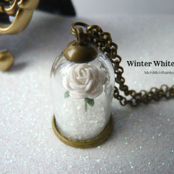 Winter White Rose Necklace