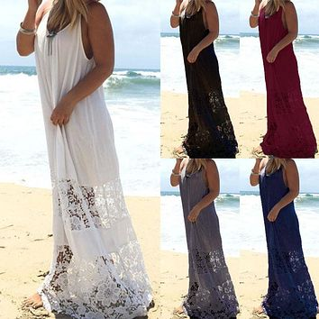 Plus Size Women Sleeveless Scoop Neck Low Cut Side Lace Crochet Long Maxi Dress