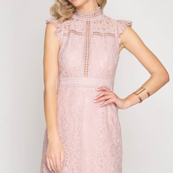 Pink High Neck Crochet Lace Dress (final sale)