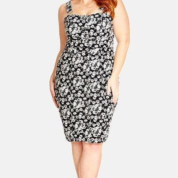 Plus Size Women's City Chic 'Floral Overall' Stretch Denim Dress