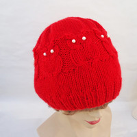 Handknitted Owl Hat, Cable Benie Hat, Women Hat in red, Owl hat in Red, Handmade Hat