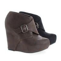Dudley Hoop and Loop Hidden Platform High Wedge Ankle Booties