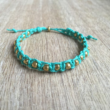Teal Bracelet, Hemp Bracelet, Hemp Jewelry, Friendship Bracelet