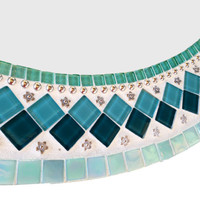 Round Silver and Teal Mosaic Wall Mirror  // Mixed Media Mosaic // Bathroom Mirror
