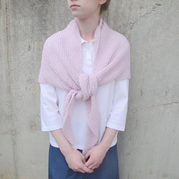Pink Knit Shawl, Cozy, Prayer Shawl, Triangle Shawl Wrap, Alpaca, Light & Lacy, Gift for Her, Mother's Day