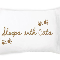 Sleeps with Cats Pillow Case By FacePlant Dreams