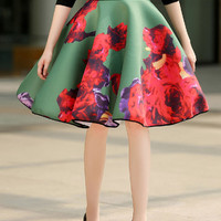 Green Floral Printed Skater Skirt