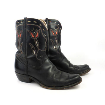 Inlay Cowboy Boots Vintage 1950s Black 50s Leather