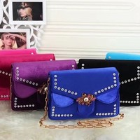 """Gucci"" Personality Fashion Velvet Diamond Bee Lock Metal Chain Single Shoulder Messenger Bag Women Small Square Bag"