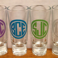 Personalized MONOGRAMMED SHOT GLASS Groomsmen Best Man Bridesmaids Bachelor Bachelorette  Party