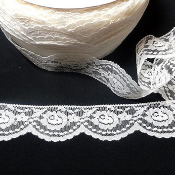 Ivory Raschel Flat Lace, 2 Inch Wide Polyester, BY the YARD, Bridal, Wedding, Costumes, Lingerie, Victorian Clothing, Home Sewing Lace Trim