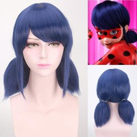 High Quality Miraculous Ladybug Navy Blue Short Cosplay Wig Two Ponytails Hear Resistant Synthetic Hair Wig Anime Costume Party