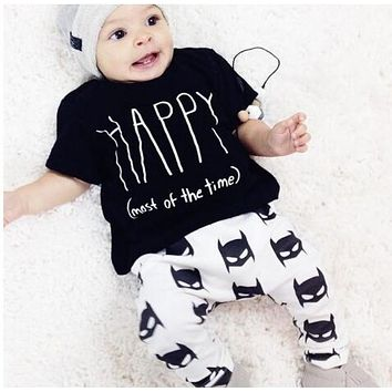 Runqi baby boy clothes infant 2pcs suit baby boy clothing sets letter printed short sleeve t-shirt+pants kids toddler set