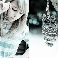 Unique Design Vintage Owl Pendant Long Chain Animal Necklace