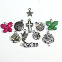 Mixed Lot of Jewelry Charms - Butterfly, Casino, Cross, Angel, Rose, Star