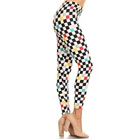 Women's Plus Colorful Checkered Pattern Printed Leggings