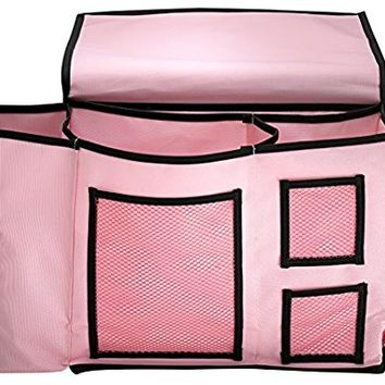 Bedside Organizer Hanging Storage Caddy Bag – 7 Deep Pockets / 4 Mesh Compartments for Books, iPad,Cell Phone, TV Remote, Glasses+ Tissue Box and Water Bottle Holder – Stylish Design for Any Bedroom