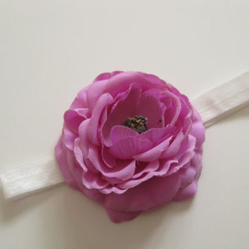 Baby headband lilac flower headband - ivory headband, toddler headband, girls headband, newborn photo prop, baby headband, UK seller