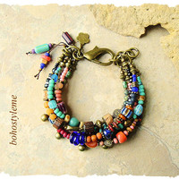 Bohemian Bracelet, Beaded Tribal Bracelet, Multiple Layer, Handmade Hippie Gypsy Jewelry, bohostyleme, Kaye Kraus