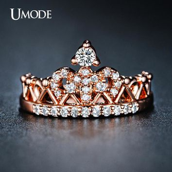 UMODE CZ Crystal Fashion Crown Rings For Women Rose Gold Color Round Cut 2016 New Arrival Anillos Wholesale Jewelry AUR0217