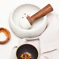Marble & Wood Mortar and Pestle