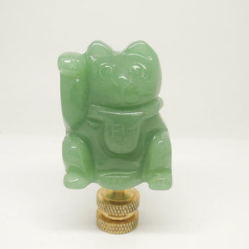 1PC 100% Natural Gemstone Green Aventurine Carved Lucky Money Cat Lamp Finial, Gemstone Lamp Charms Lighting Accessary