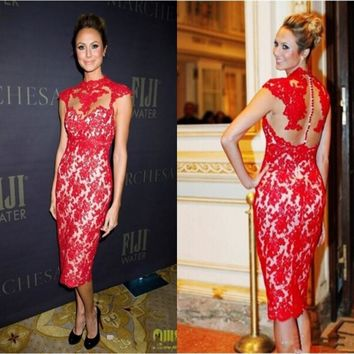 Sexy Red Carpet Celebrity  Women  High Neck Tea Length Lace Appliques Custom Cocktail Dress For Sale Fashion Straight Party Gown
