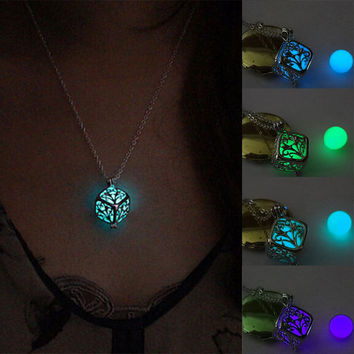 Women's Glow Life Of Tree Locket Hollow Cube Square Pendant Luminous Statement Chocker Necklace Gift HB88