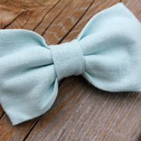 Boy's Linen Clip on Bow tie in Baby Blue