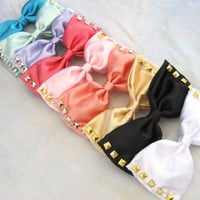 Studded Satin Bows (many colors)