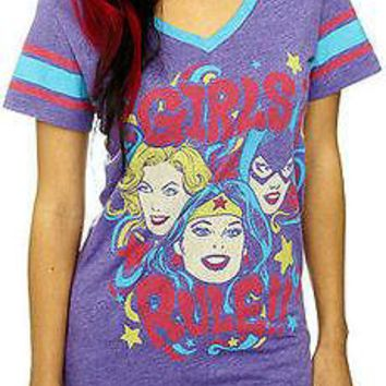 Licensed cool NEW DC  GIRLS RULE PURPLE V-NECK T-Shirt Soccer Jersey Tee HOT TOPIC EXC.